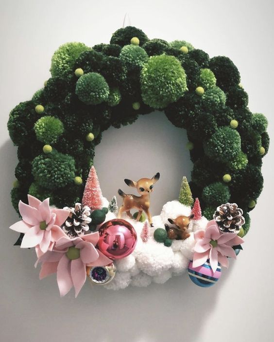 Christmas Decorating Ideas to Turn Your Home Into a Winter Wonderland  Pom Pom Wreaths Christmas Decorating Ideas to Turn Your Home Into a Winter Wonderland  Pom Pom Wrea...