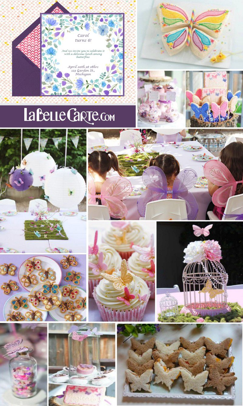Online Invitations Kids Party Birthday Butterfly Decorations LaBelleCarte La Belle Carte