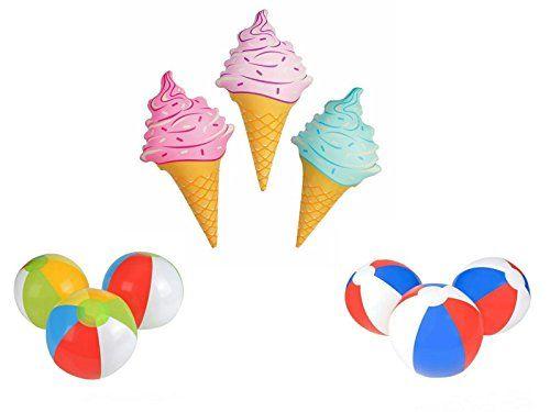 New Set Of 3 Inflatable Ice Cream Cones 3 Multi Color 3 Patriotic