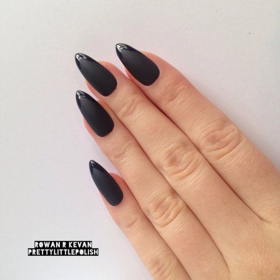 Matte black with glossy tip stiletto nails by prettylittlepolish ...