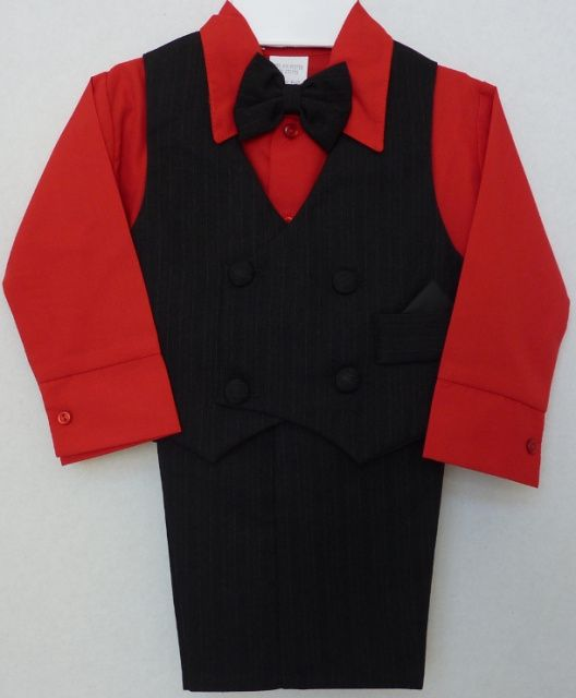 Baby And Infants Red Suit Features A Black Pinstripe Vest