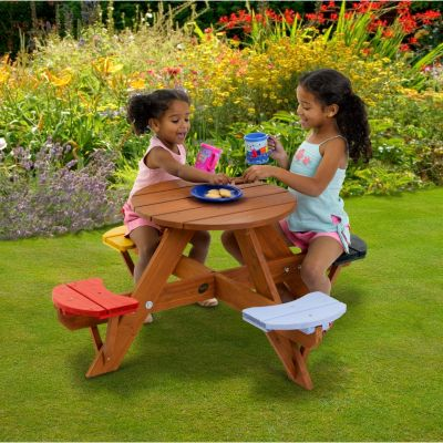 Plum Round Picnic Table Coloured Seats 2017 Your young children will feel all grown up with their own garden furniture, the perfect place for a tea party or to play games. A solid and sturdy table made from premium timber and supplied with colo http://www.comparestoreprices.co.uk/outdoor-toys/plum-round-picnic-table-coloured-seats-2017.asp