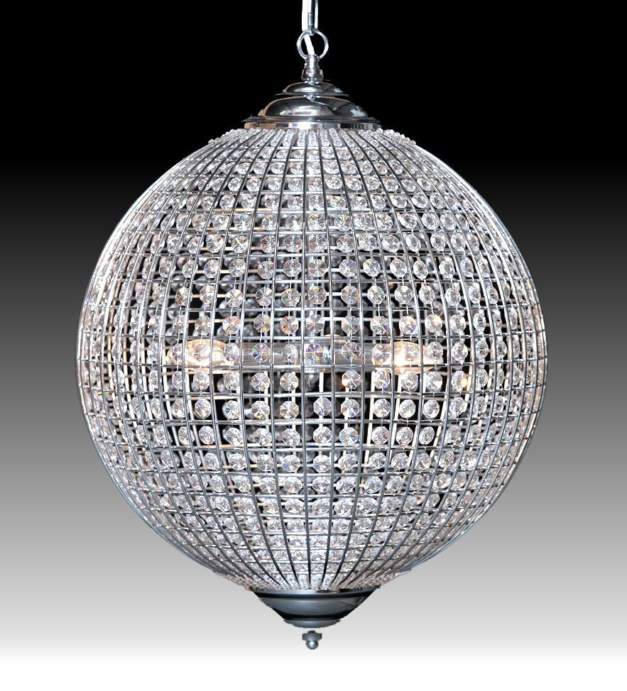 Alexandra Globe Chrome Crystal Chandelier Available In 2 Sizes Bespoke Mirrors Art Deco Mirrors Custom Made Mirrors Globe Chandelier Chandelier Ceiling Lights Ceiling Lights