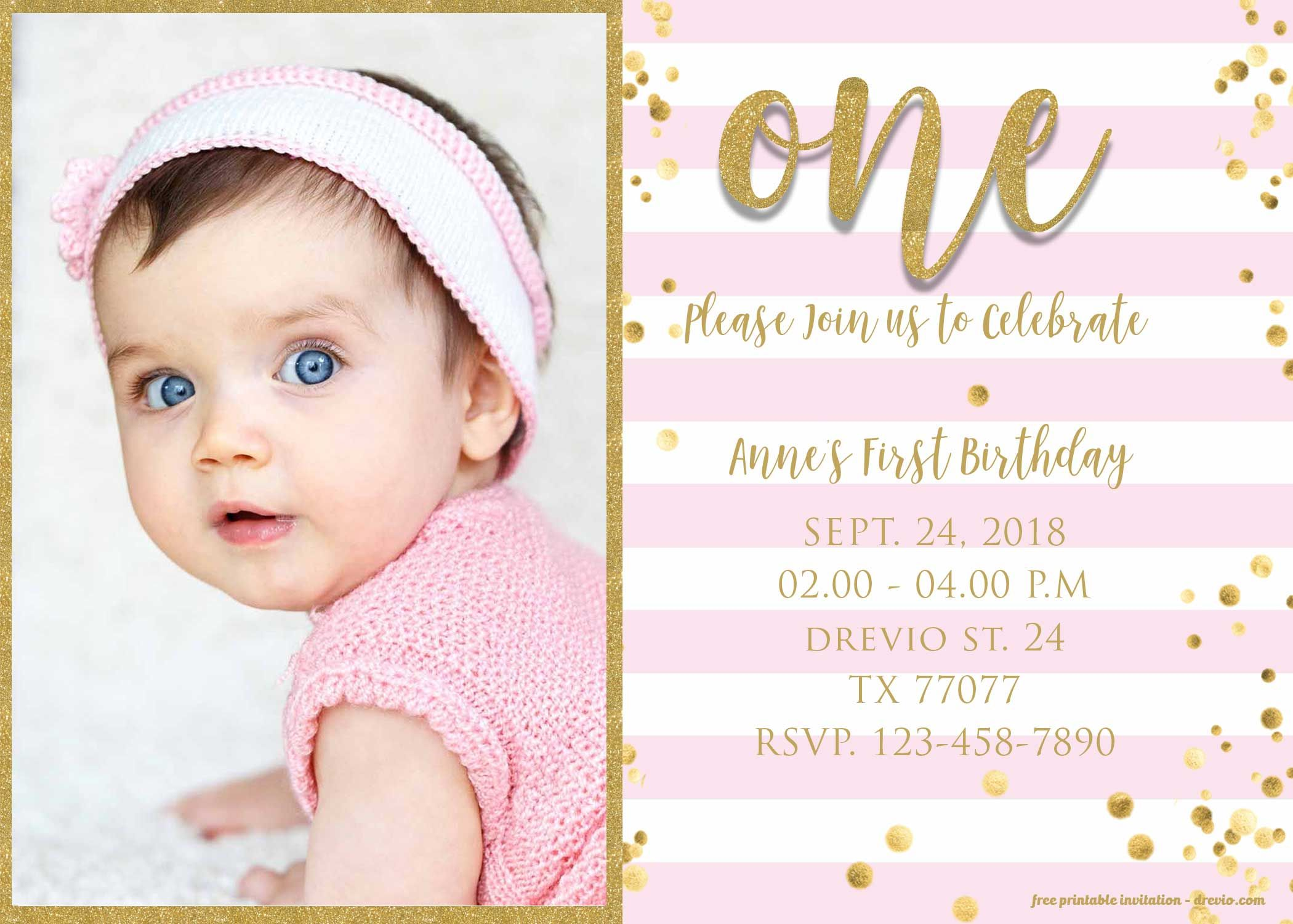 Free 1st Birthday Invitation Pink And Gold Glitter Template Drevio 1st Birthday Invitations Birthday Invitation Card Template 1st Birthday Invitations Girl
