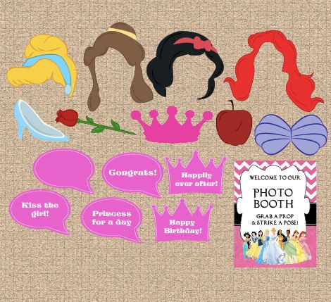 Printable Disney Princess Photo Booth Props Digital Diy Party