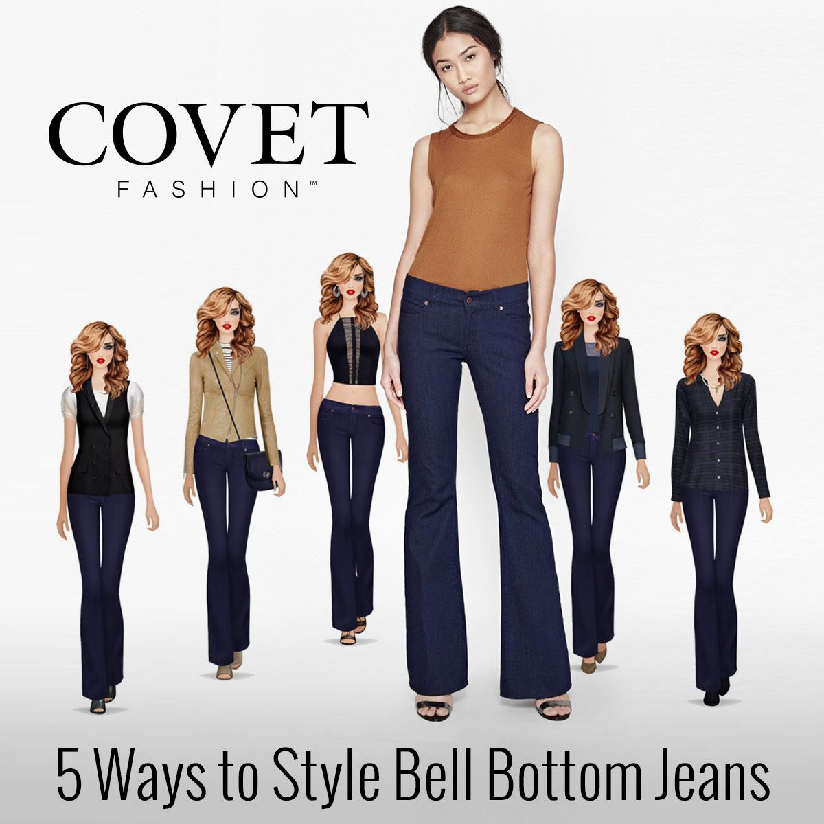 Style these French Connection Bell Bottom jeans in Covet Fashion!