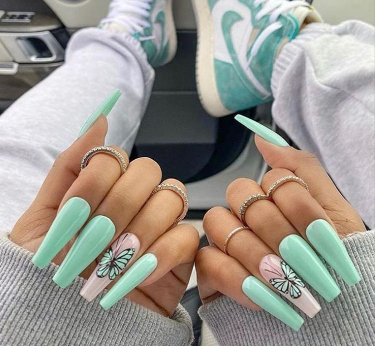 Cute Mint Green Long Coffin Nails 2020 With Accent Butterfly Coffin Nail Design For Summer Summernails Long Green Nail Designs Mint Acrylic Nails Mint Nails