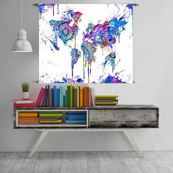 Print World Map Wall Art Poster Abstract Painting Large Art - Large world map painting