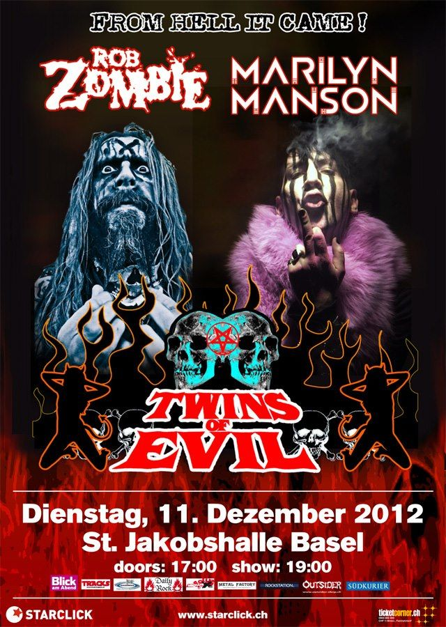 Concert Poster Art Rob Zombie Marilyn Manson Twins Of Evil Tour St Jakobshalle Basel 2012 Rob Zombie Concert Poster Art Zombie