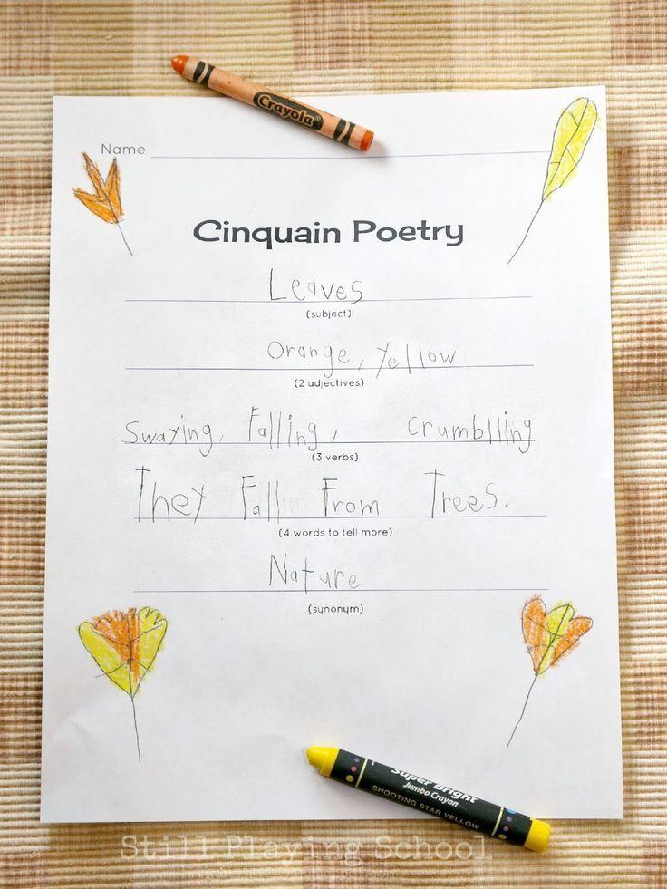 Cinquain Poetry for Kids Fall Cinquain Poetry for kids