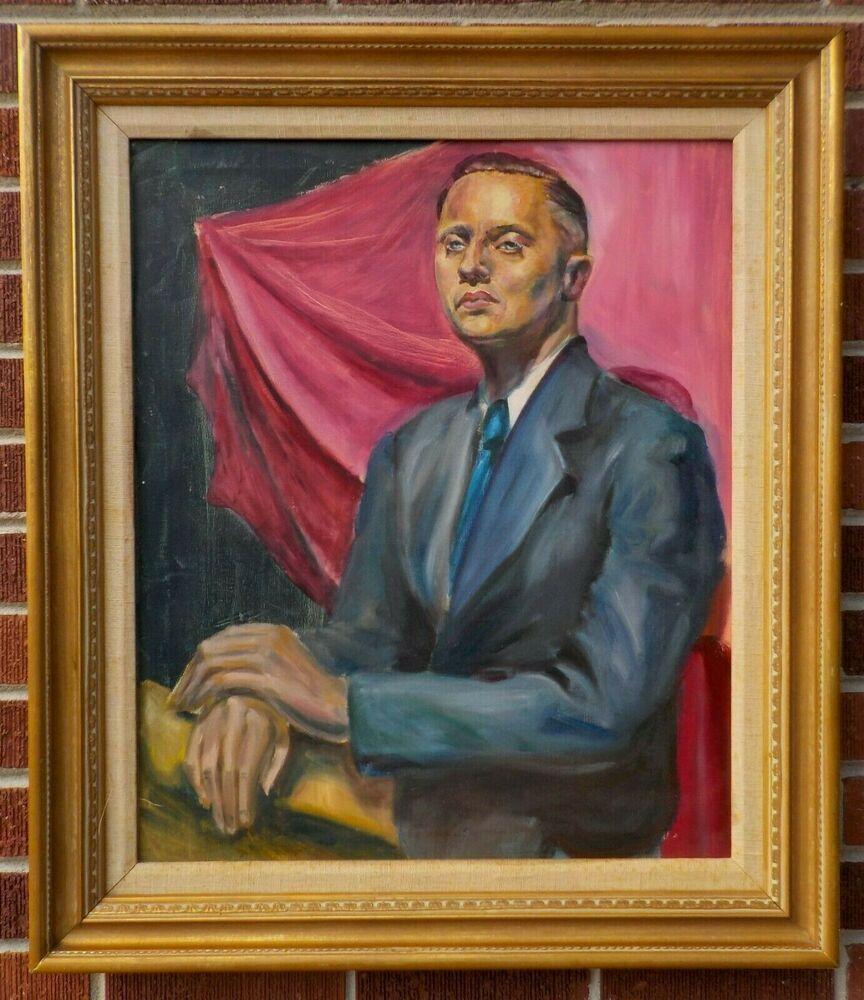 Man portrait Antique Original Painting by N.Volkova High quality art 31,4x23,5 Portrait of a pilot MALE PORTRAIT PAINTING Soviet art