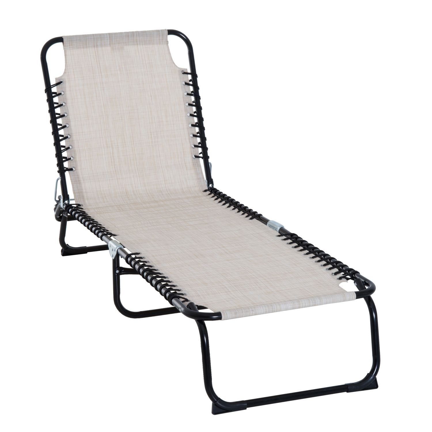Outsunny 3Position Reclining Beach Chair Chaise Lounge