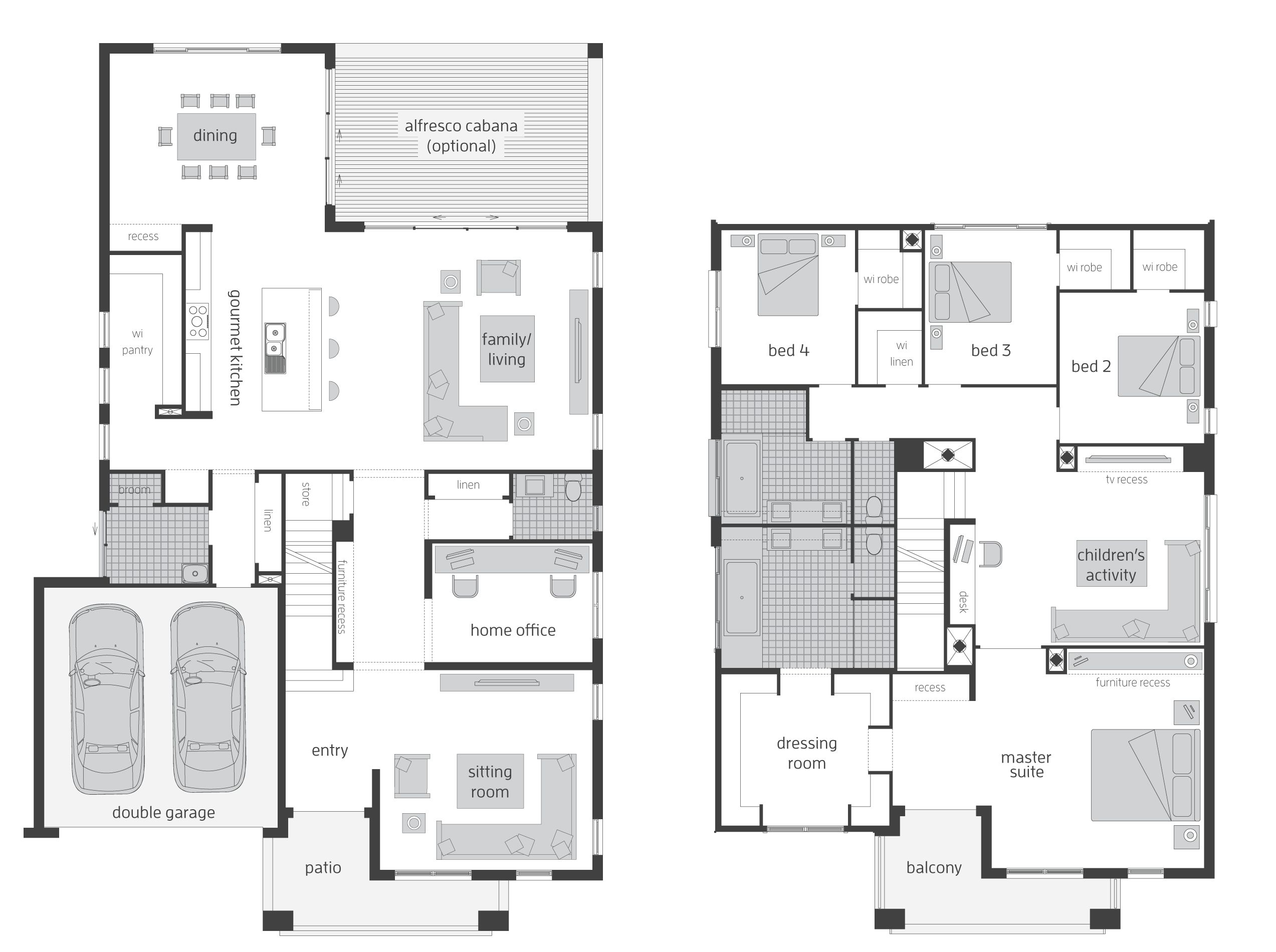 Floor Plan Modern Family House in 2020 | Modern family ...