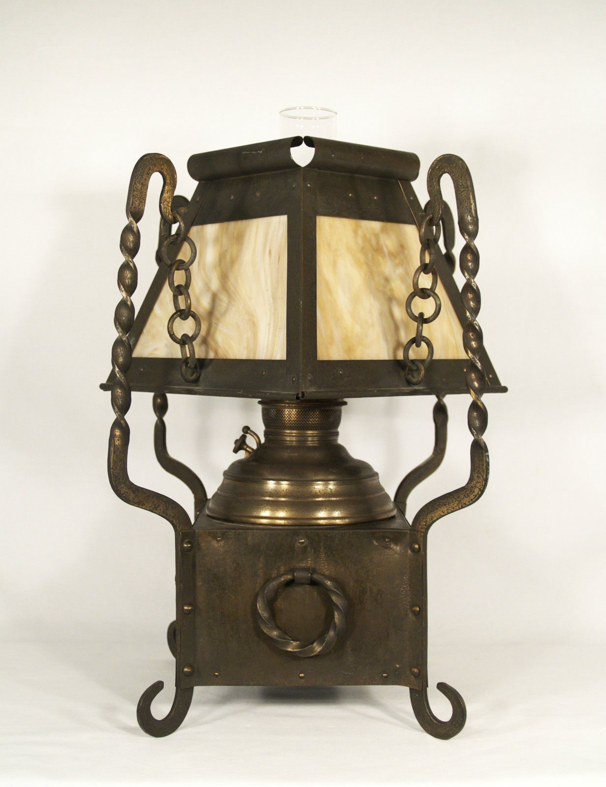 Arts & Crafts Oil Lamp. & Riveted Brass with