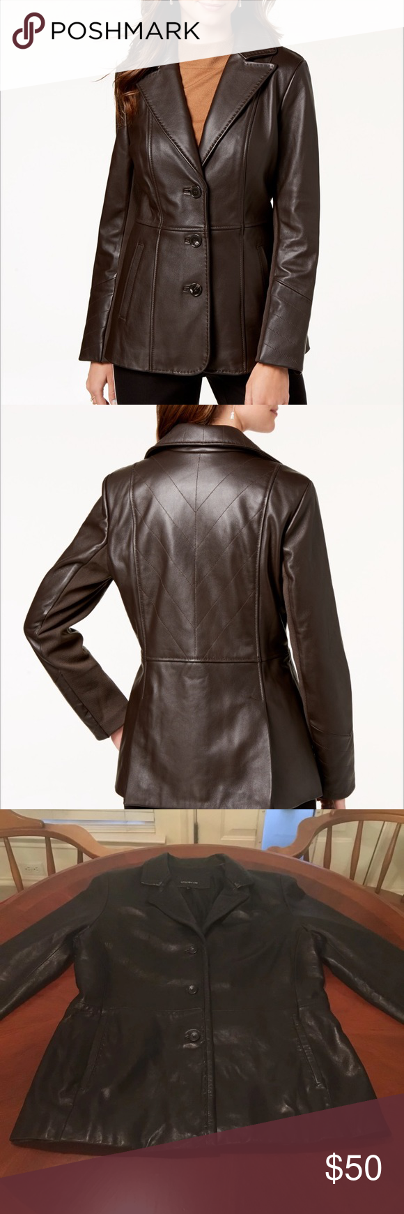 Jones New York VStitched Leather Jacket Large On sale at