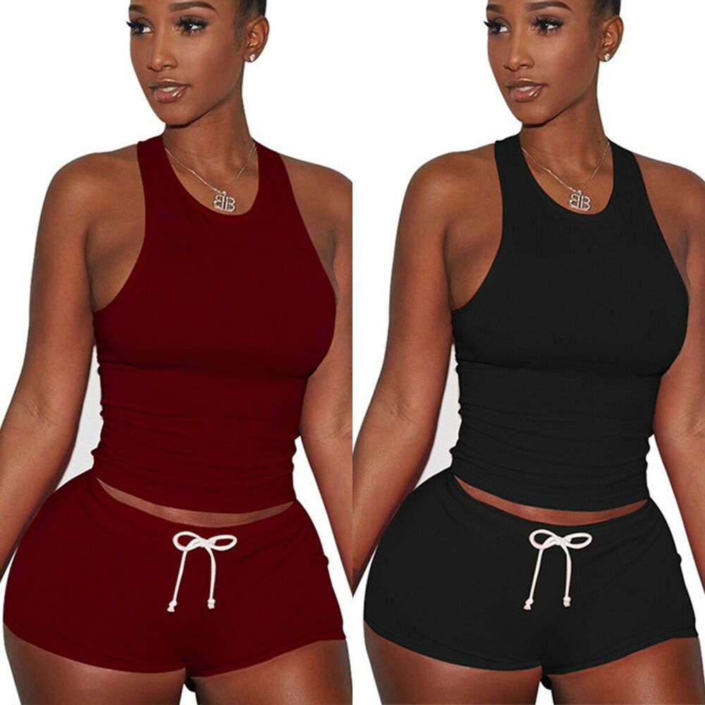 Womens Sports//Gym//Run//Yoga Suit Sleeveless Crop Top Shorts Tracksuit Set 2Pcs