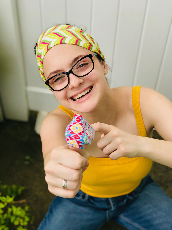 Wide Stretchy Fabric Headband Tropical Margarita Pink Lime Green Cream