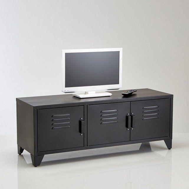 Meuble Tv Acier Style Indus 3 Portes Hiba La Redoute Interieurs Meuble Tv Design Meuble Tv Mobilier De Salon