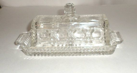 Vintage Glass Butter Dish Lidded Butter Dish Glass Butter Dish Sunburst Design Octagon Design Butter Dish With Lid Pressed Dish Butter Dish Glass Collection Glass