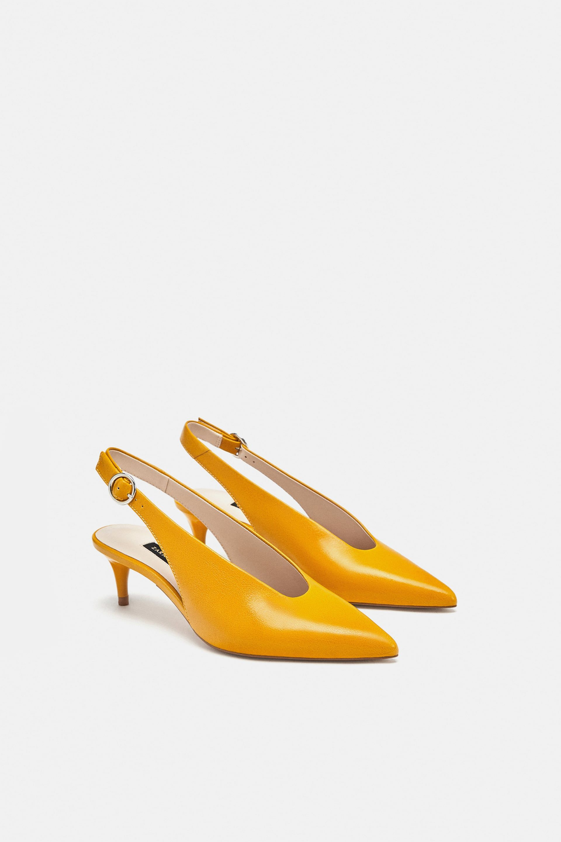 c3585b9e6b9 Image 1 of LEATHER SLINGBACK HEELS from Zara