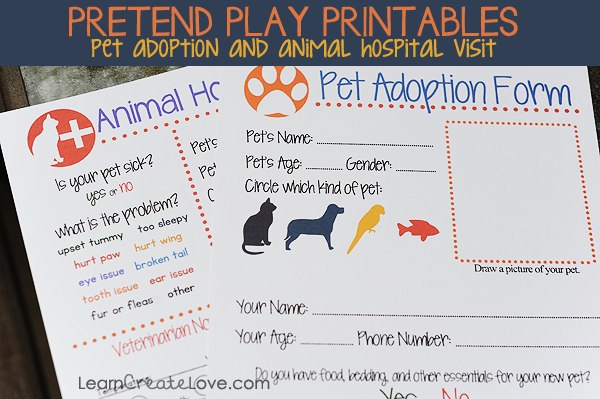 Free Pretend Play Printables For Animals And Pet Adoption Pretend Play Printables Dramatic Play Preschool Pretend Play