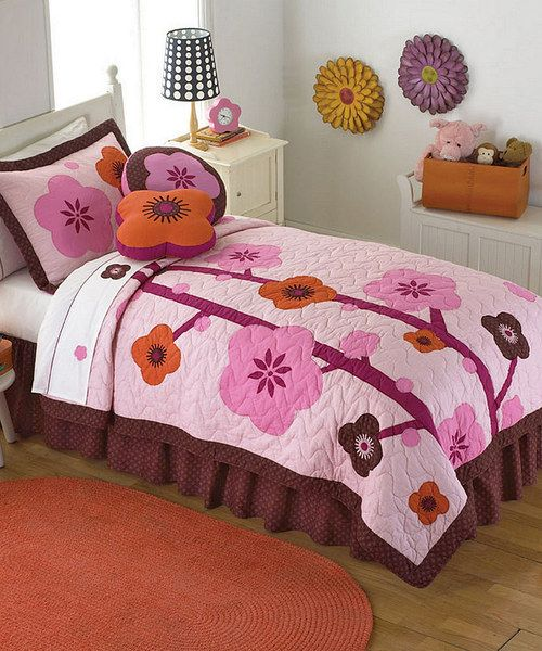 Take a look at the Chocolate & Pink Blossom Quilt Set on #zulily today!