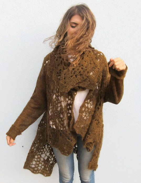 Plus Size Woman Long Crochet Wool Cardigan Oversize Long sleeved Brown Sweater Knit Shawl Top Draped Womens Wool Cover Up