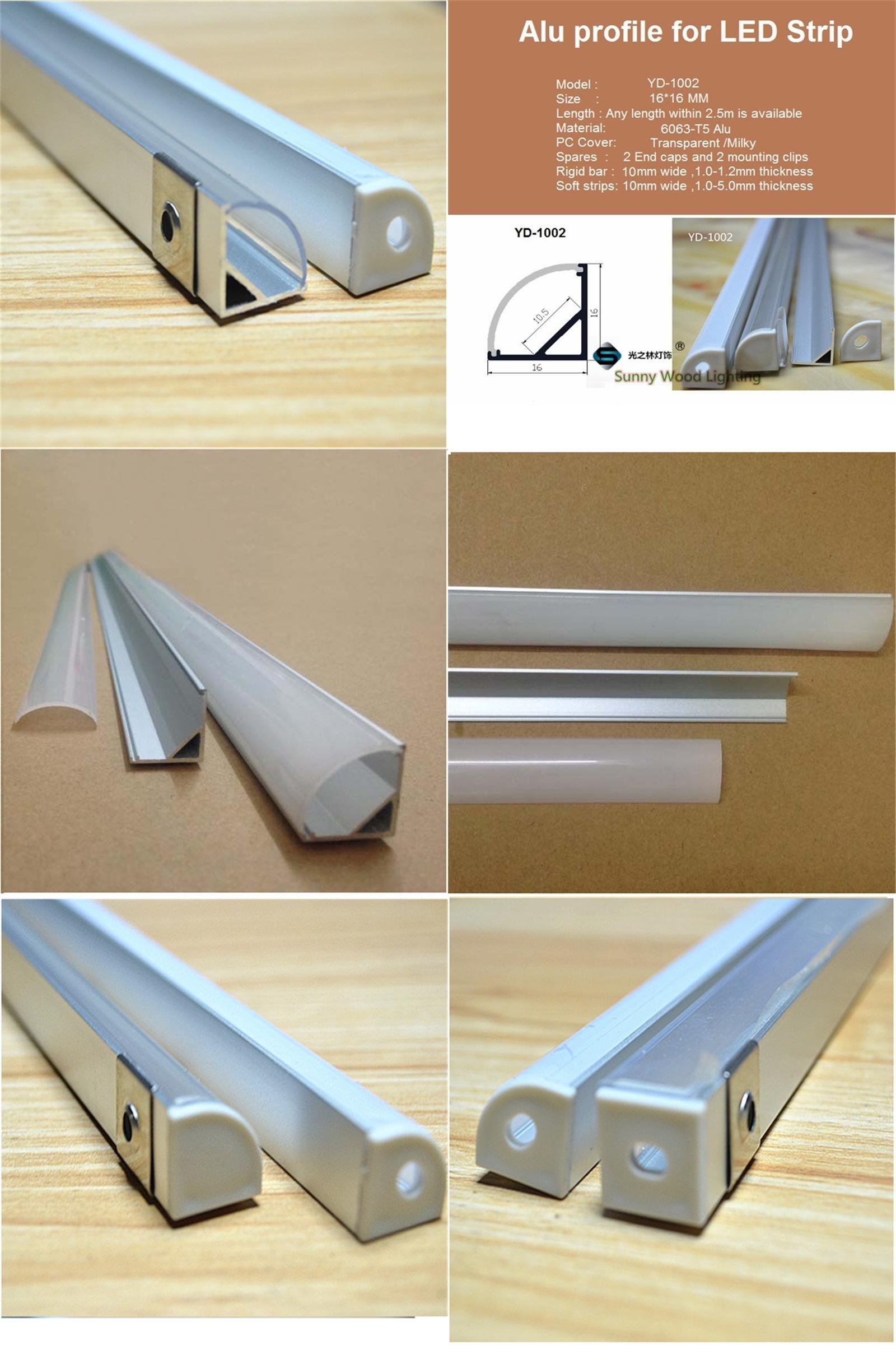 Visit To Buy 2 30pcs Lot 0 5m Pc 45 Degree Corner Aluminum Profile For 5050 3528 Led Strip Milky Transparent Cover For 10mm Pc Led Strip Home Led Light Bars