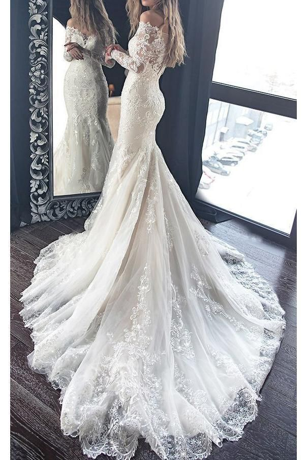 Gorgeous Mermaid Wedding Dress with Long Sleeves, Lace Bridal Dress with Long Train ETH11626