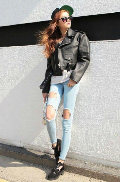 Stylenanda♥ light blue jeans with big holes...
