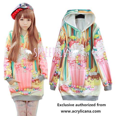 [Acrylicana Design] Milkshake-Sweetheart Winter Fleece Hoodie Sweater Jumper SP141597