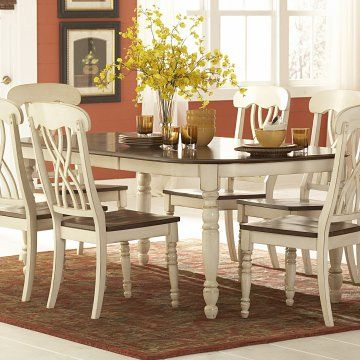 hayneedle Ohana Dining Table with Leaf - White & Cherry 499 | White dining set, Dining table ...