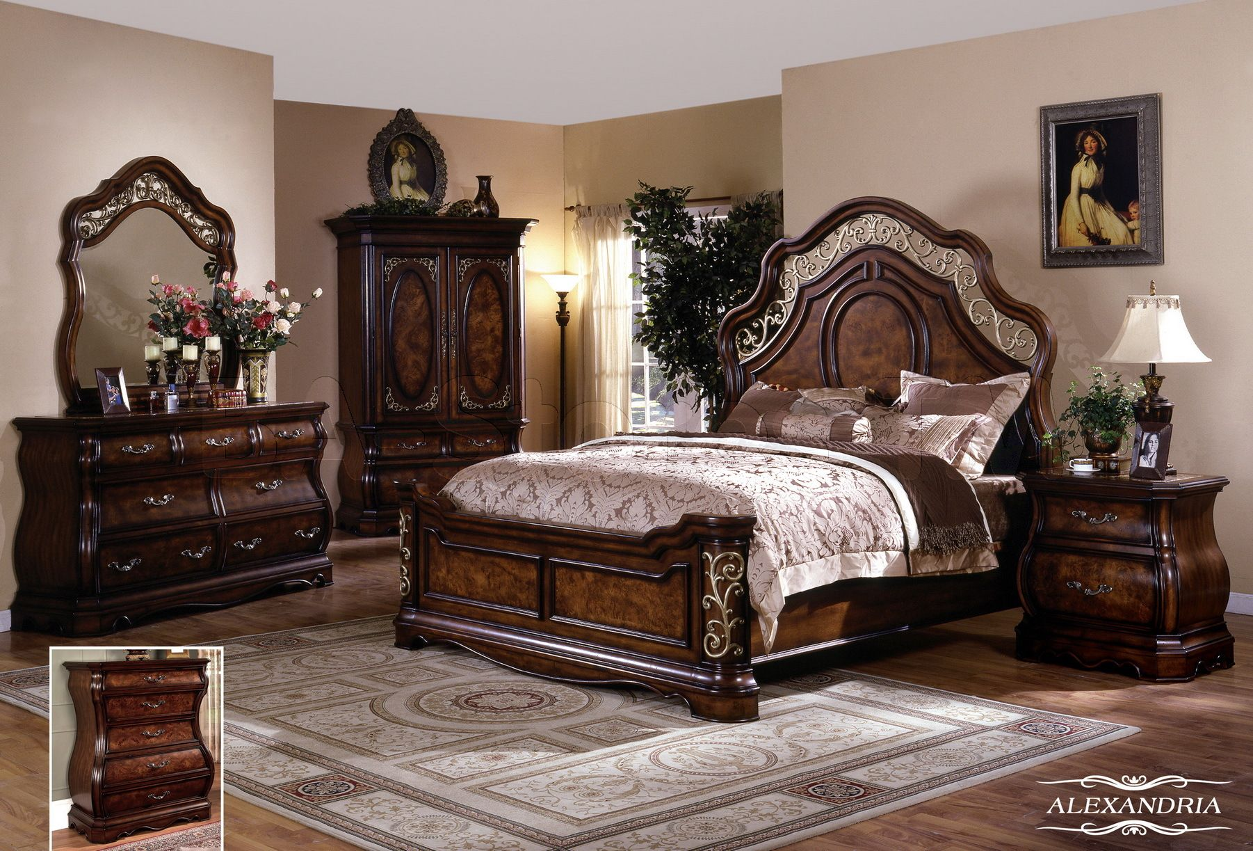 Alexandria 5 pc bedroom set queen bed dresser mirror for Bedroom dresser sets