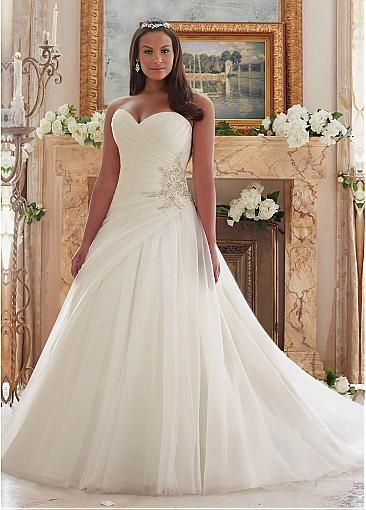 fbd3697a1d87a Marvelous Organza Sweetheart Neckline A-line Plus Size Wedding Dresses With  Beadings