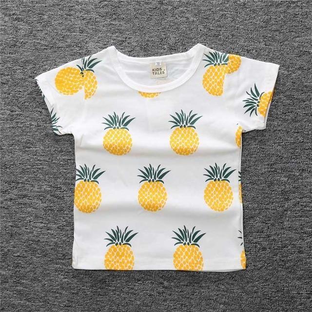 a6aa1970895d1 New toddler Baby New Summer Boys T Shirt Kids Tops Cartoon Pineapple ...
