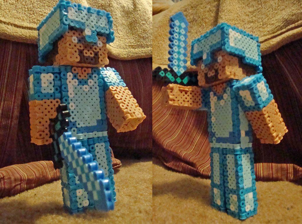 3d Minecraft Perler Steve Diamond Version By Pika Robo On