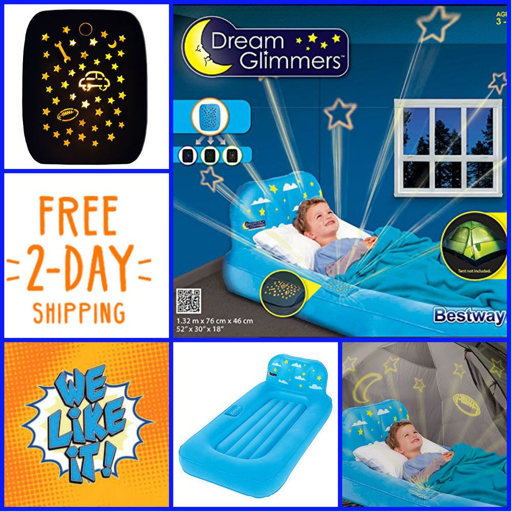 Kids Travel Bed Inflatable Portable Folding Toddler Air Mattress Child Projector