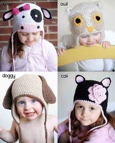 animal hat crochet patterns collection 2 instant download