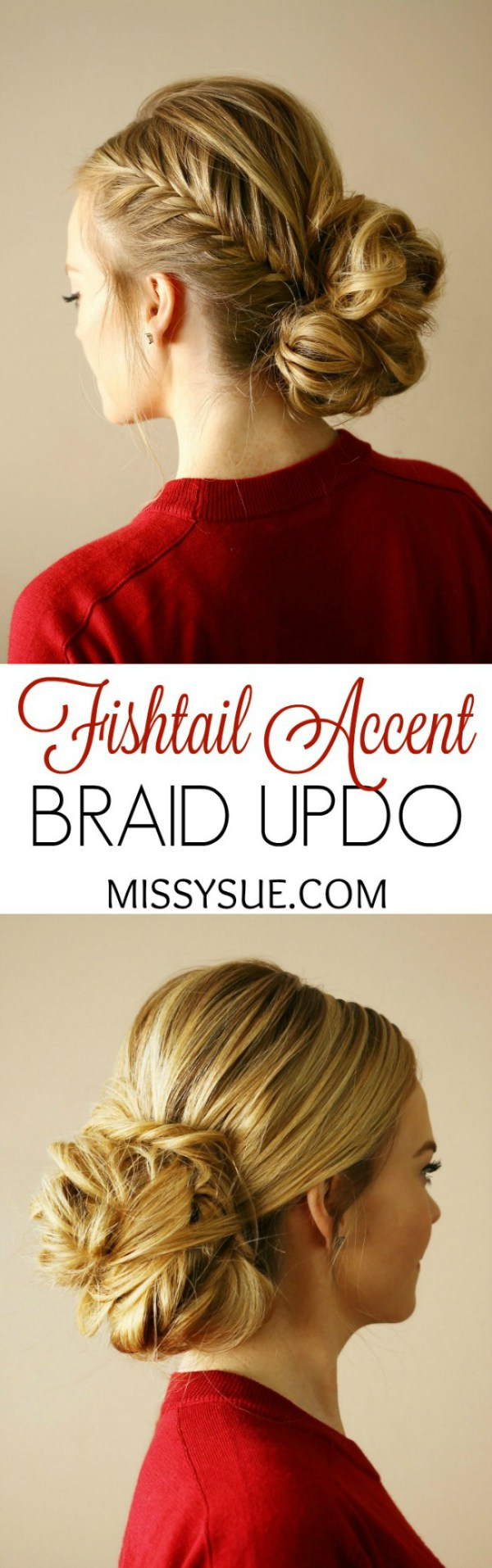 Fishtail accent braid updo fishtail updo and hair style