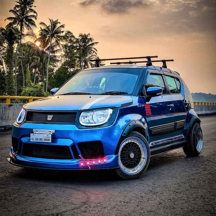 Maruti Suzuki Ignis Modified Into A Crazy Low Rider Ignis Blue