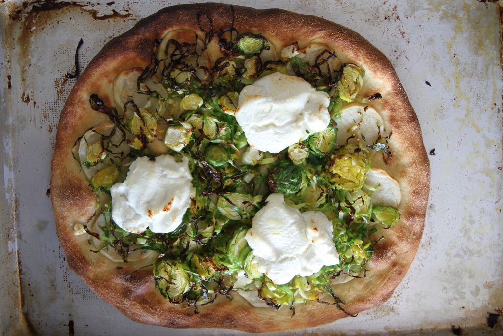 Potato, Brussels sprouts and goat cheese Pizza | by Heather Christo