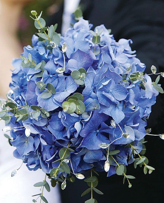 Wedding Bouquets Blue Hydrangeas Silver Dollar Euclyptus
