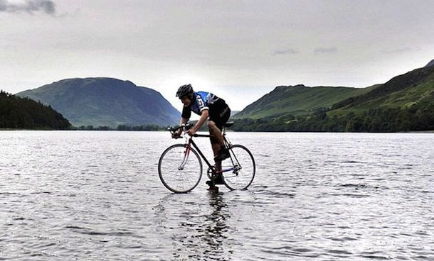 British Teenager Bikes On Top Of Water For Charity Won T Say How