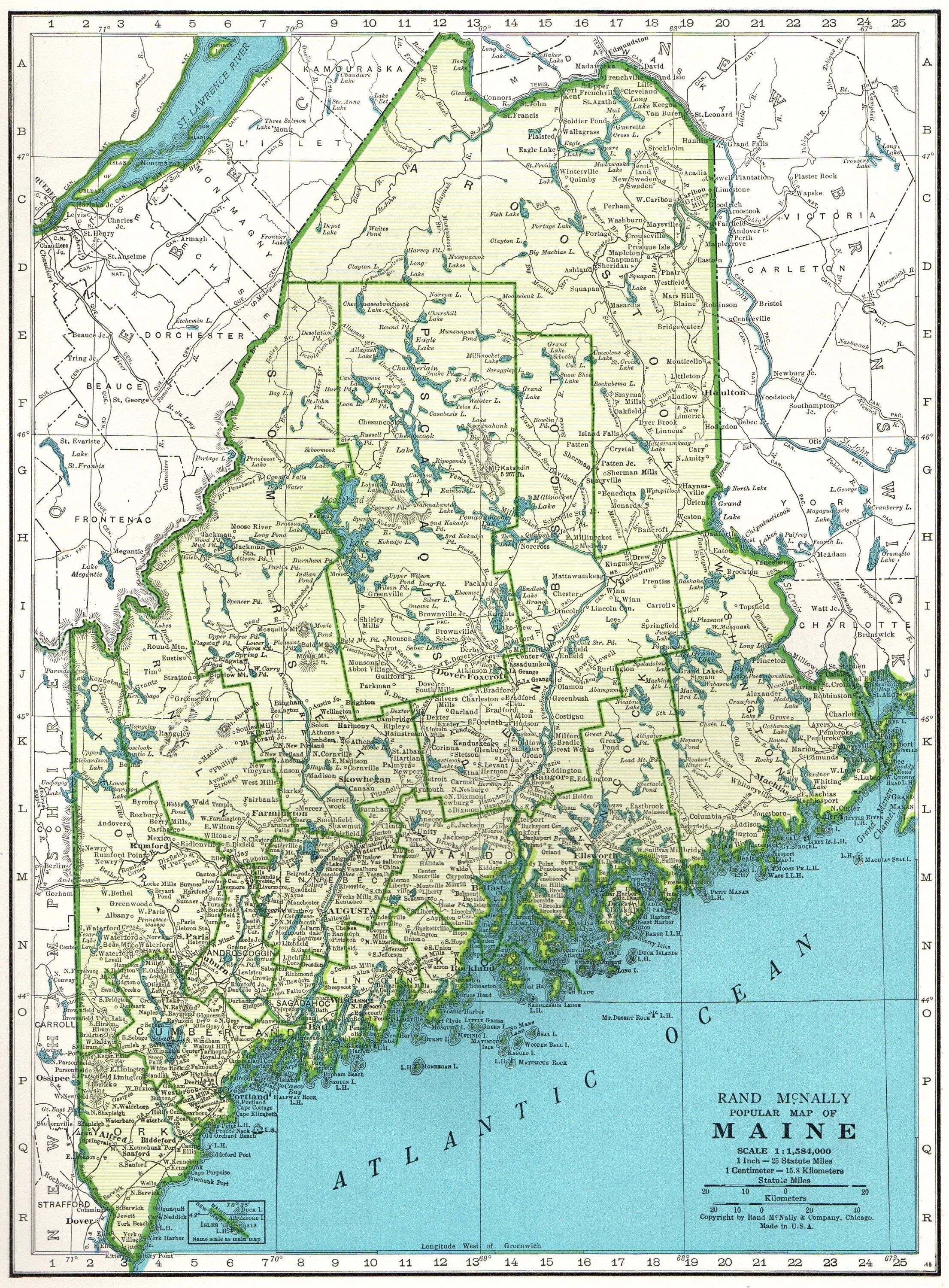 Vintage MAINE Map 1947 State Map of Maine Print Gallery Wall ...
