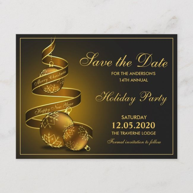 Elegant Christmas And Holiday Party Save The Date Announcement Postcard    Elegant Christmas And Holiday Party Save The Date Announcement Postcard