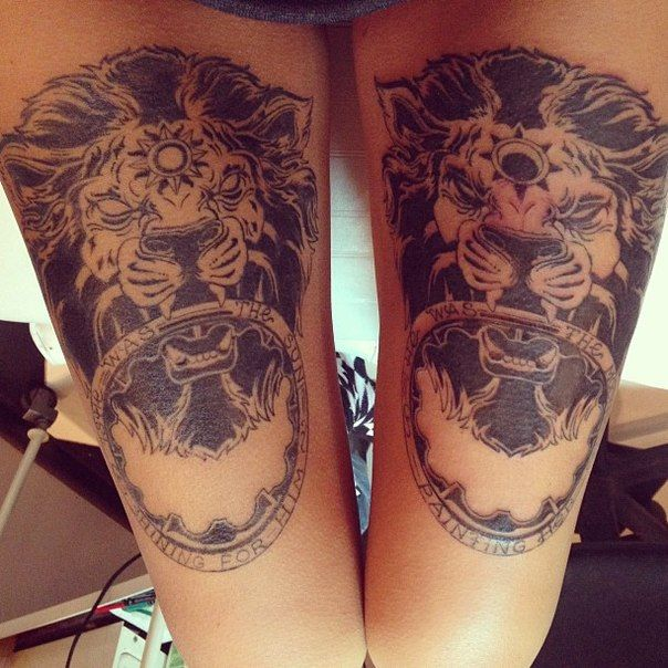_ quote & lions thigh tattoo _