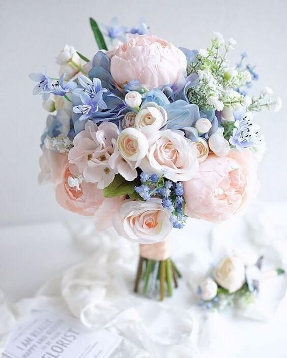 Blue Wedding-Light Blue Bridesmaid Dresses, Ivory and Pastel Pink Bouquets