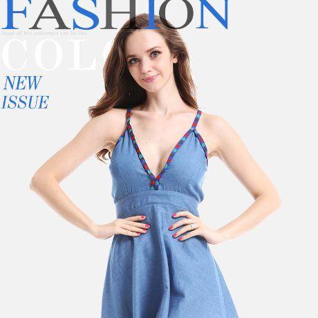 Ensogo Malaysia   Summer Women Sexy Denim Dress Backless Sleeveless Spaghetti Strap Deep V-neck High Waist Slim Denim Jeans Mini Dress