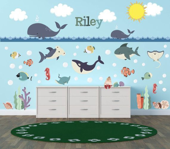Ocean Wall Decals Ocean Theme Nursery Decor Ocean Theme