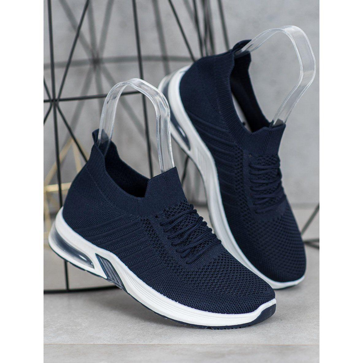Shelovet Granatowe Tekstylne Buty Na Platformie Adidas Sneakers Shoes Sneakers